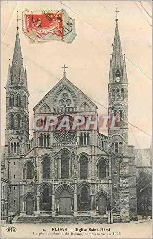Carte Postale Ancienne Reims Eglise Saint Remi La Pus Encienne de Reims Commencee en 1042