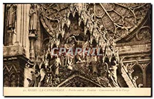 reims Carte Postale Ancienne La cathédrale Porche