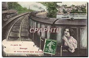 Carte Postale Ancienne Je pars vers Beauge