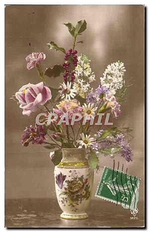 Carte Postale Ancienne Fantaisie Fleurs dans un
