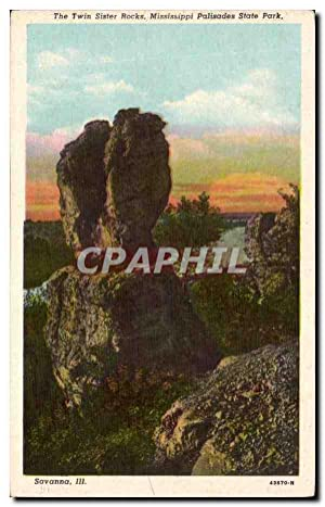Carte Postale Ancienne Etats Unis The twin Sister rocks Mississippi Palisades State park
