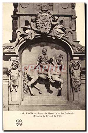 Lyon Carte Postale Ancienne Statue de Henri
