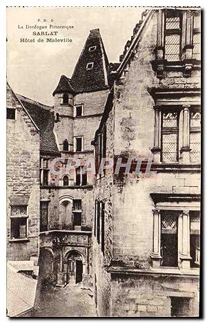 Carte Postale Ancienne Sarlat Hôtel de maleville