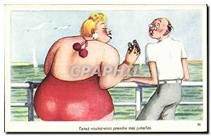 Carte Postale Ancienne Fantaisie Humour Femme forte
