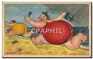 Carte Postale Ancienne Humour Fantaisie Femme forte