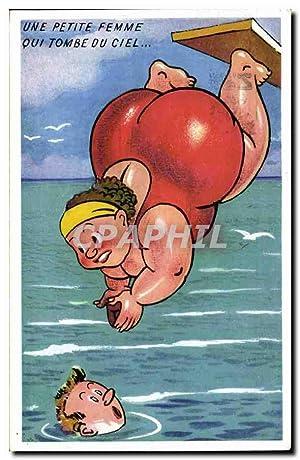 Carte Postale Ancienne Humour Femme Forte Une
