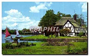 Carte Postale Ancienne The river bure at Wroxham Norfolk Broads