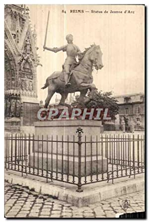 Carte Postale Ancienne Reims Statue de Jeanne d'Arc