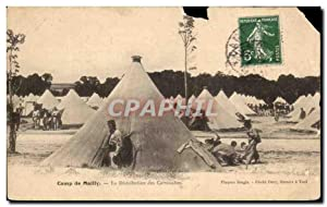 Carte Postale Ancienne Camp de Mailly La Distribution des Cartouches Militaria