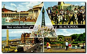 Carte Postale Ancienne Best wishes from Blackpool