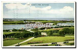 Carte Postale Ancienne Three Bridges Pier Southport