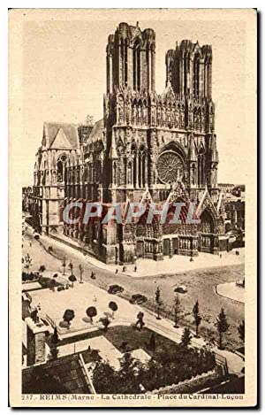 Carte Postale Ancienne Reims La Cathédrale Place Du Cardinal Lucon