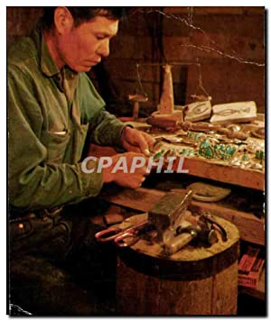 Carte Postale Ancienne Navajo Silversmith at Work
