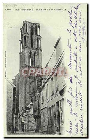 Carte Postale Ancienne Laon Rue Serrurier Tour