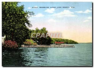 Carte Postale Ancienne Scenic Shoreline Along Lake Geneva Wis