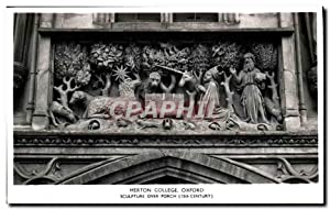 Carte Postale Ancienne Merton College Oxford Sculpture over porch