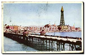 Carte Postale Ancienne North Pier and Promenade Blackpool