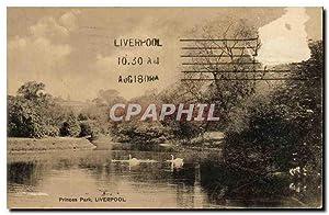 Carte Postale Ancienne Princes Park Liverpool Cygnes