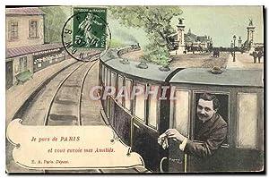 Carte Postale Ancienne Je Pars De Paris