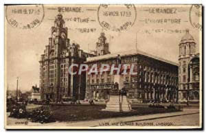 Carte Postale Ancienne Liver And Cunard Buildings Liverpool