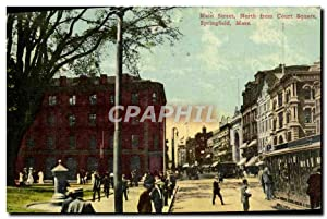 Carte Postale Ancienne Main Street North From Court Square Sprinfgield Mass