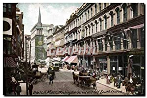 Carte Postale Ancienne Boston Mass Washington Street And Old South Church