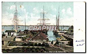 Carte Postale Ancienne Whalers Fitting out New Bedford Mass Bateaux