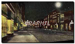 Carte Postale Ancienne Broadway at night Billings Mont