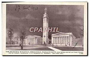Carte Postale Ancienne New Municipal Buildings Springfield Masschusetts Now being erected on Cour...