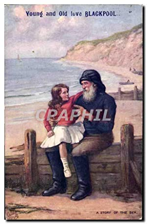 Carte Postale Ancienne Young And Old Love Blackpool Pecheur Peche Enfant