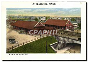 Carte Postale Ancienne Attleboro Mass NYNH&H RR Station