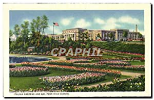 Carte Postale Ancienne Italian Gardens And Wm Penn High School Sunken gardens Front Street