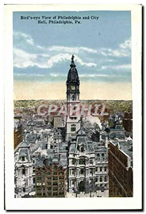 Carte Postale Ancienne Bird s'Eye View Of Philadelphia And City Hall Philadelphia League Island Navy