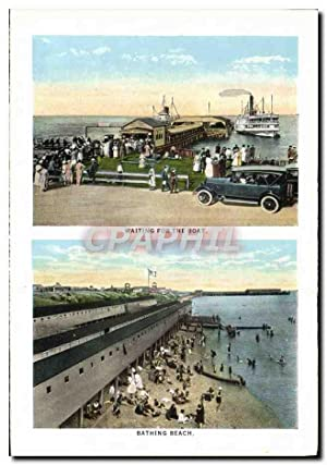 Carte Postale Ancienne Wainting For The Boat Bathing Beach