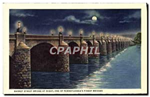 Carte Postale Ancienne Market Street Bridge At Night One Of Pennsylvania's Finest Bridges