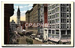 Carte Postale Ancienne Market Street West From Street Philadelphia Pa Tramway
