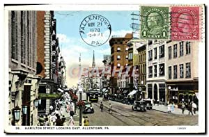 Carte Postale Ancienne Hamilton Street Looking East Allentown Pa
