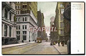 Carte Postale Ancienne Pittsburg Fifth Avenue cor of Wood St Tramway