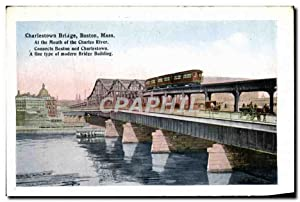 Carte Postale Ancienne Charlestown Bridge Boston Mass At The Mouth Of The Charles River Market di...
