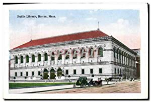 Carte Postale Ancienne Public Library Boston Mass Commonwealth Ave from Hôtel Somerset Bibliotheque