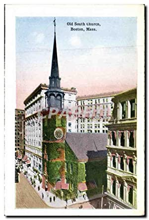 Carte Postale Ancienne Old South Church Boston Mass Copley square showing public Library Biblioth...