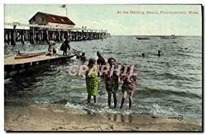 Carte Postale Ancienne At The Bathing Beach Provincetown Mass Enfants
