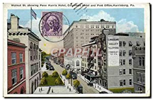 Carte Postale Ancienne Walnut St Showing Penn Harris Hôtel Columbis Hôtel And Post Office Harrisb...