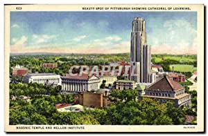 Carte Postale Ancienne Beauty Spot Of Pittsburgh Showing Cathedral Of Learning Masonic Temple and...