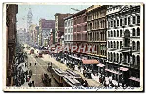 Carte Postale Ancienne Market Street From Eighth Philadelphia Pa Tramway