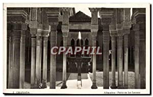 Carte Postale Ancienne Granada Alhambra Patio de los leones lion