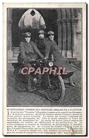Carte Postale Ancienne Le personnel feminin des services anglais de l'aviation Moto