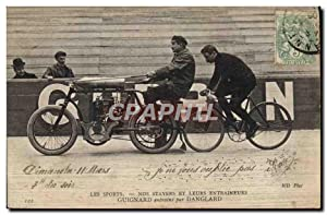 Carte Postale Ancienne Moto velo cycle Guignard entraine par Danglard