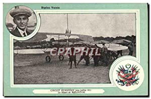 Carte Postale Ancienne Aviation Avion Biplan Voisin Circuit europeen Juin Juillet 1911 Le depart ...