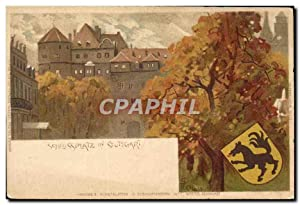 Carte Postale Ancienne Illustrateur Schlussplatz in Stuttgart Loup